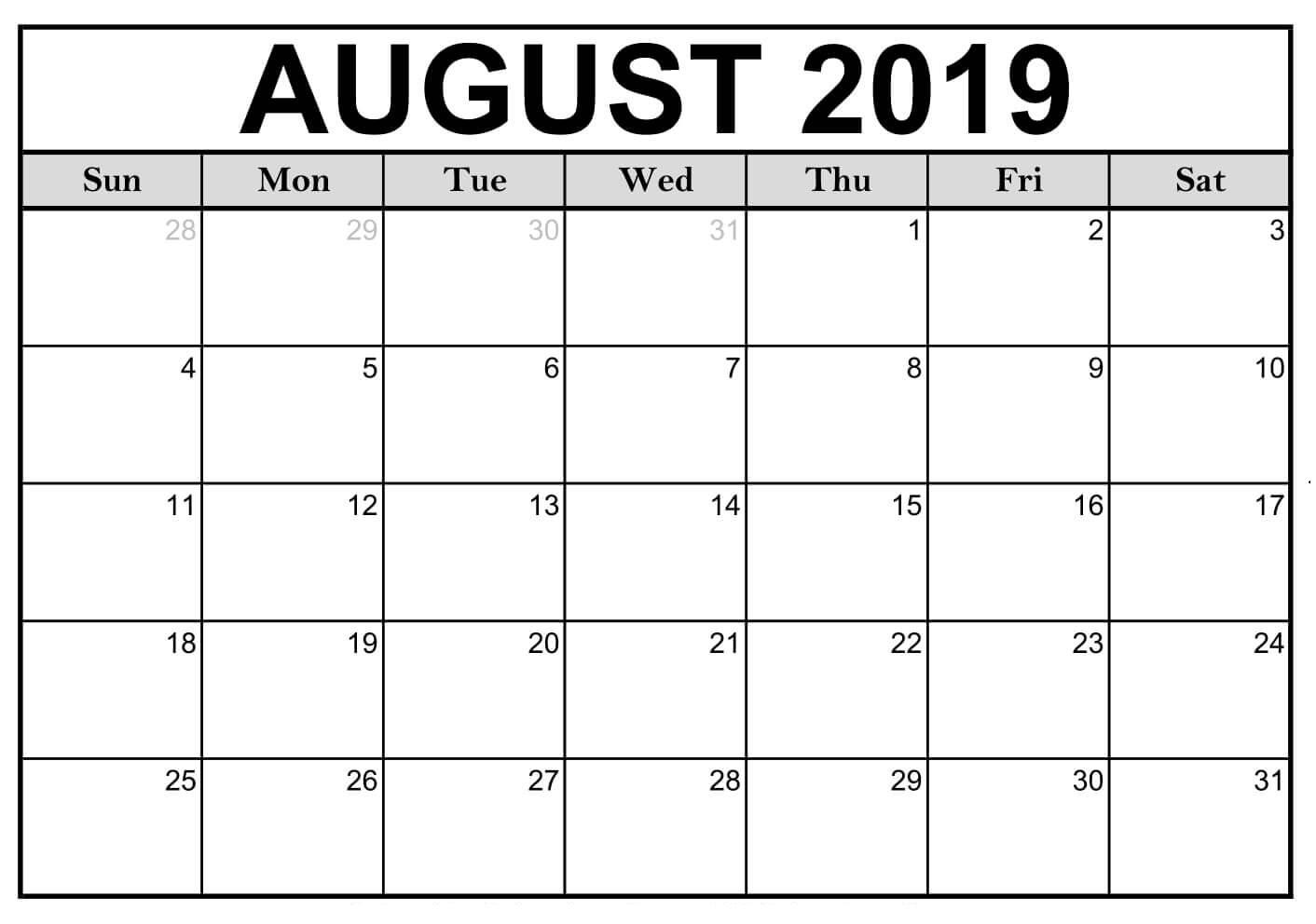 Calendar 2019 August