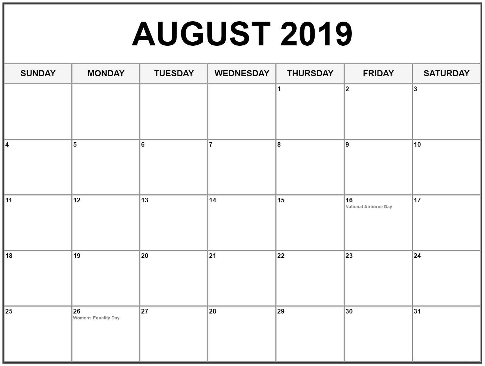 Printable Calendar 2019 August