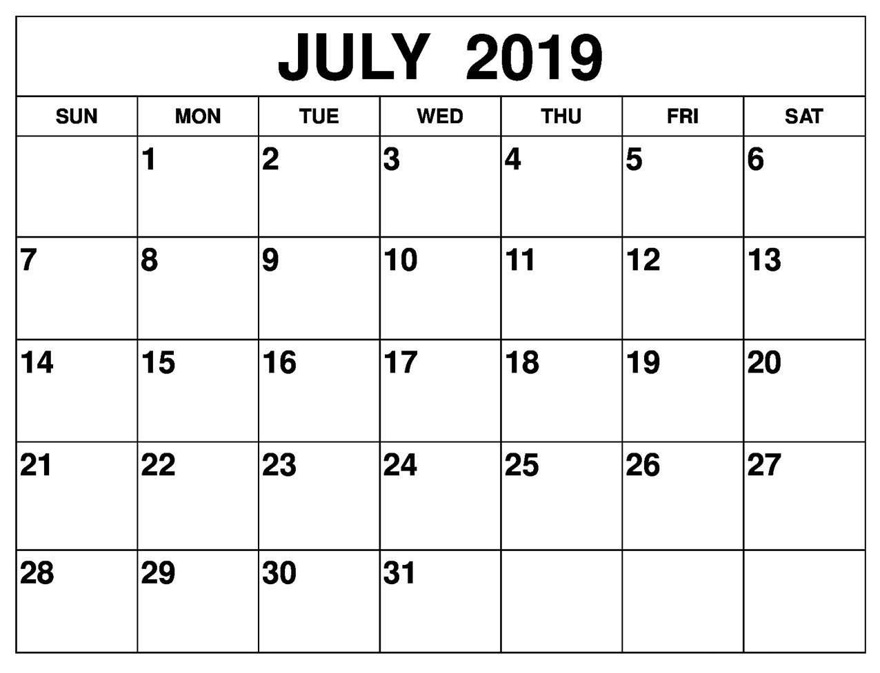 image relating to July Calendar Printable named Thirty day period of July 2019 Calendar For Phrase, PDF and Excel - Hottest