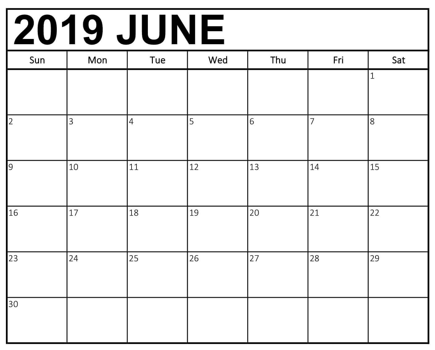 June Calendar 2019