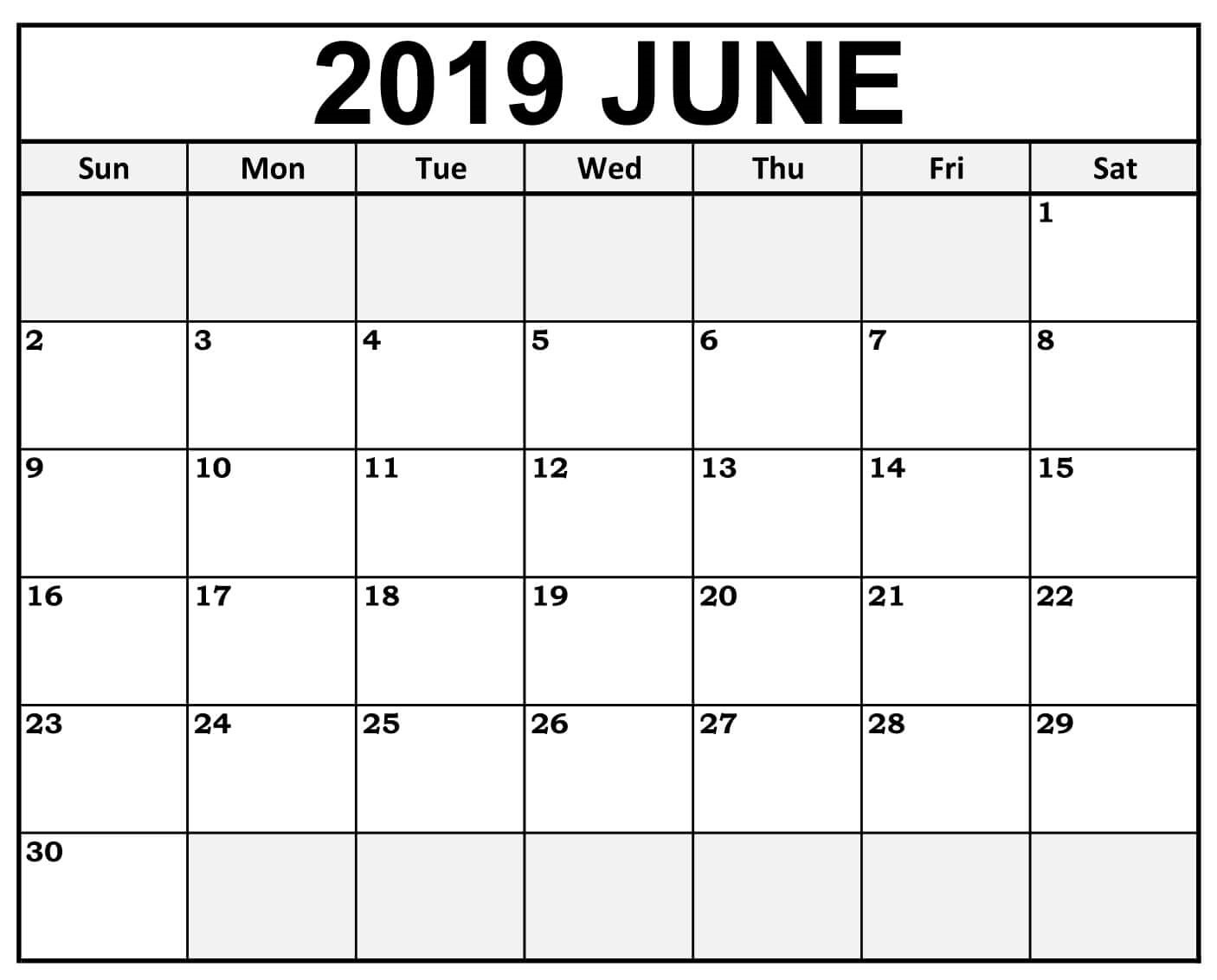 Calendar June 2019