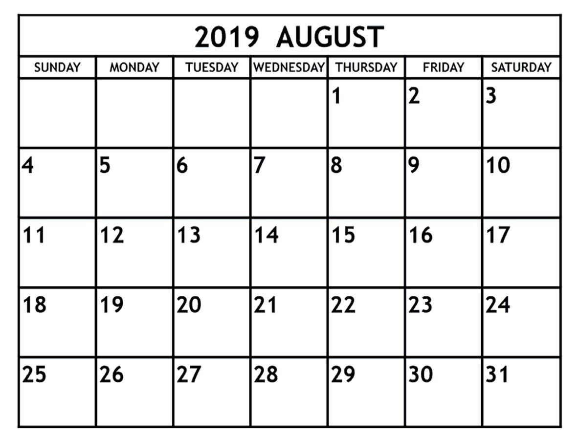 August 2019 Blank Calendar