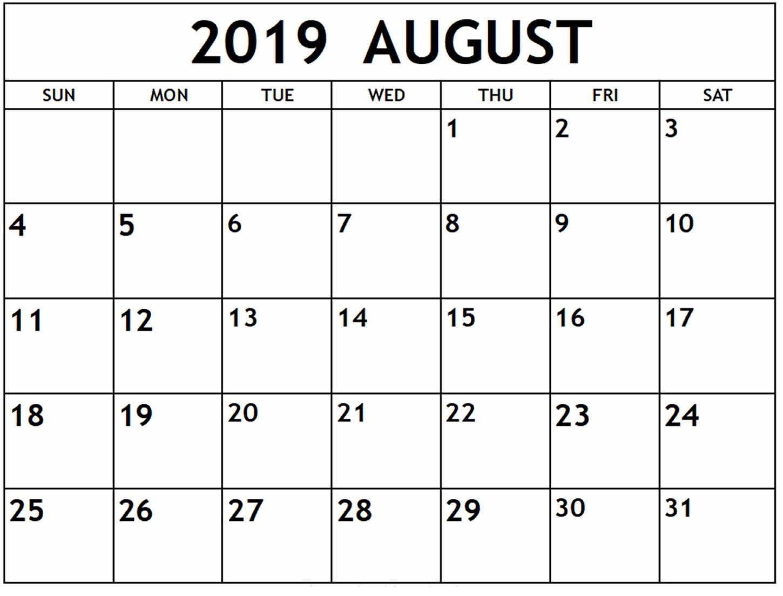 August Calendar 2019