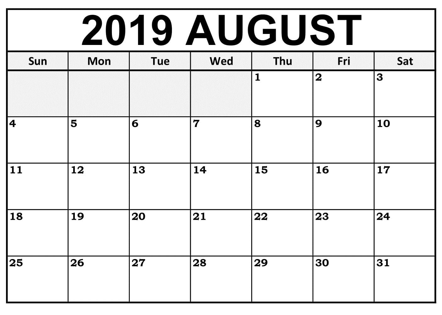 August 2019 Template Calendar