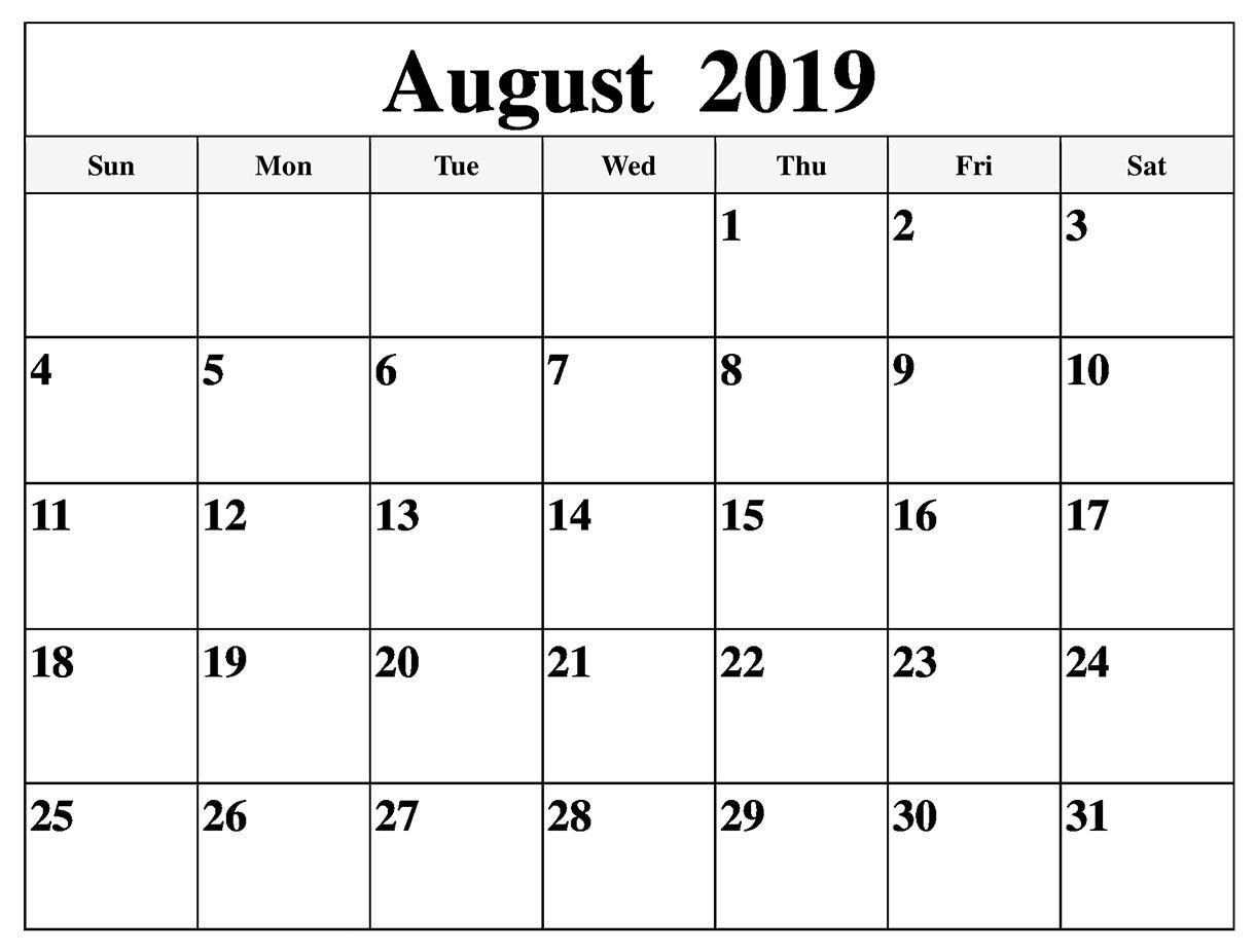 Aug Calendar 2019