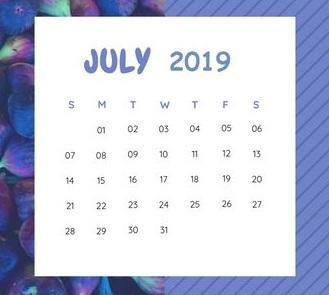 Cute 2019 July Calendar
