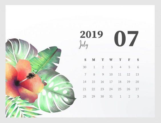 Cute July 2019 Calendar Template