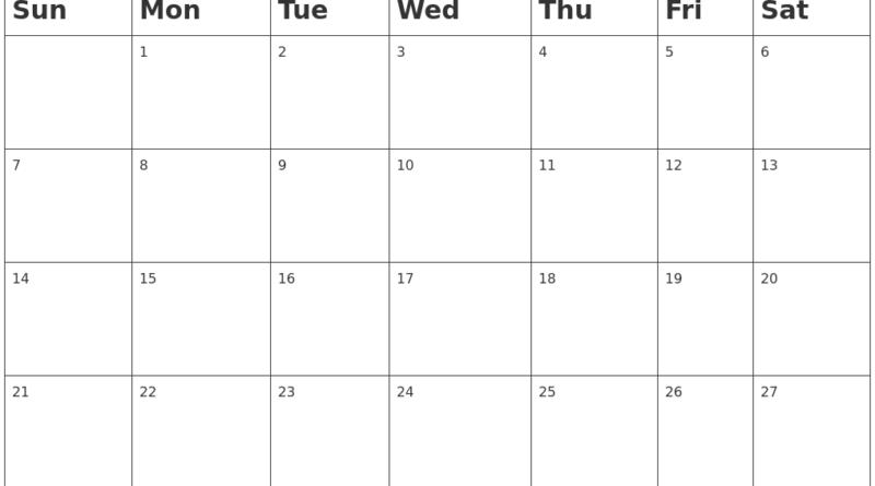 July 2019 Blank Calendar