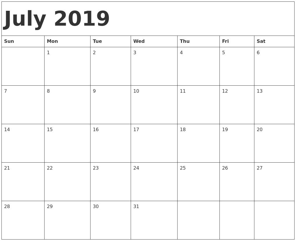July 2019 Template Calendar