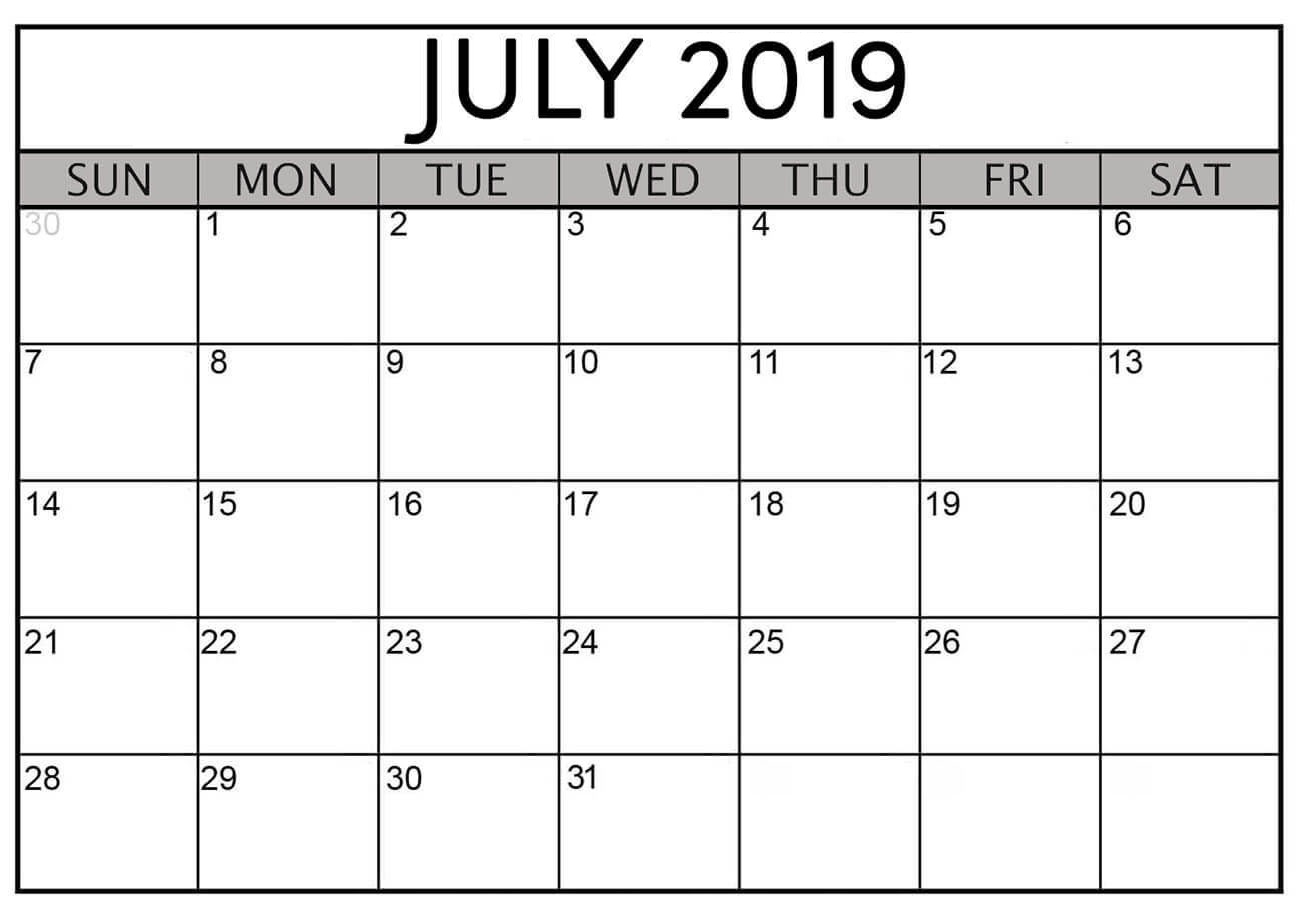 Printable July 2019 Calendar
