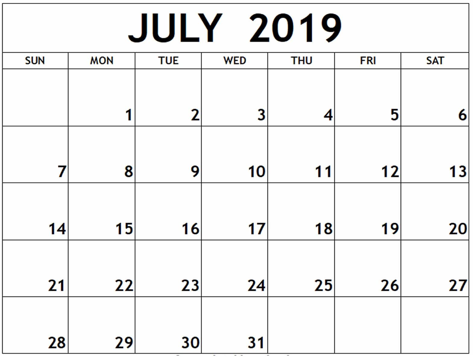July 2019 Printable Editable Calendar