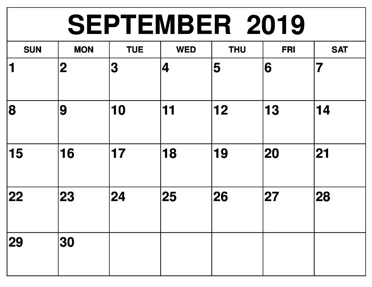 Printable 2019 September Calendar