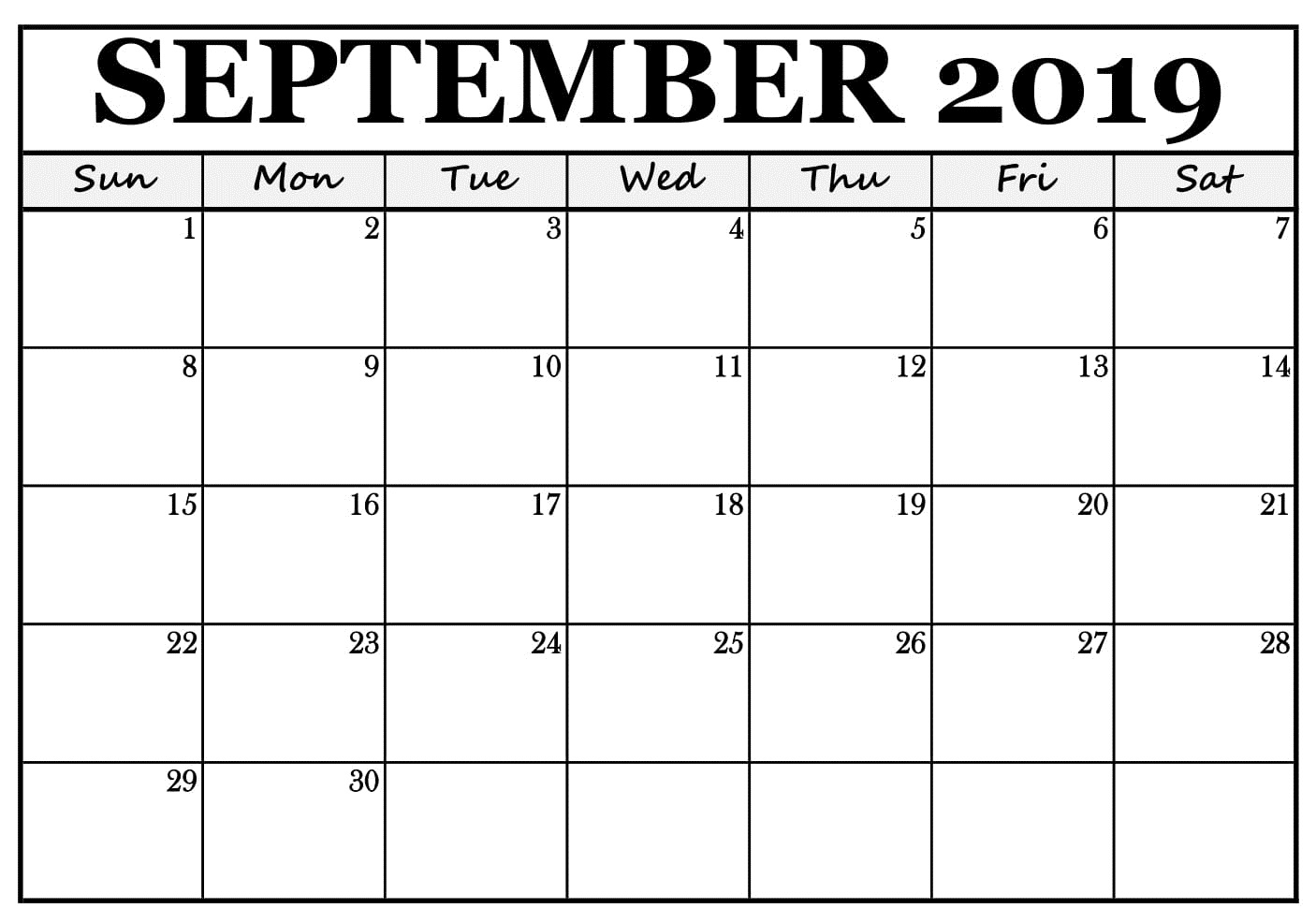 Printable September Calendar 2019