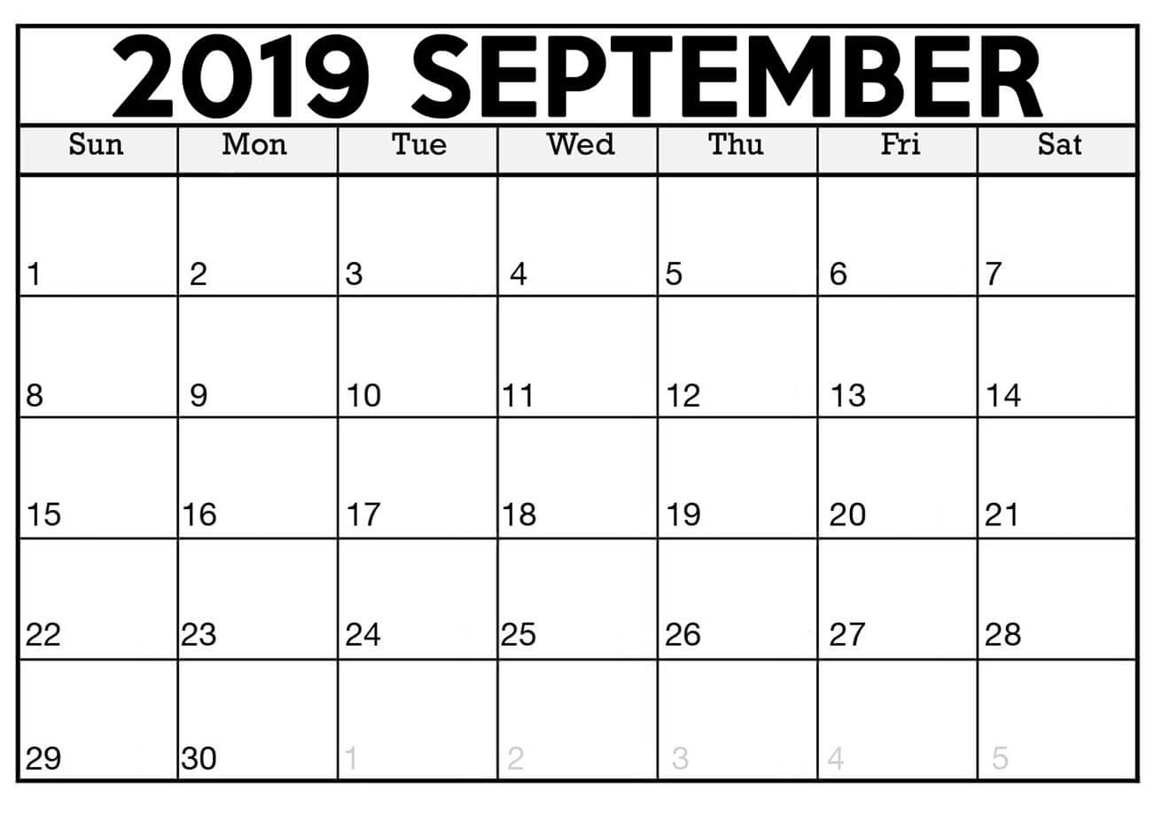 Sep 2019 Printable Calendar