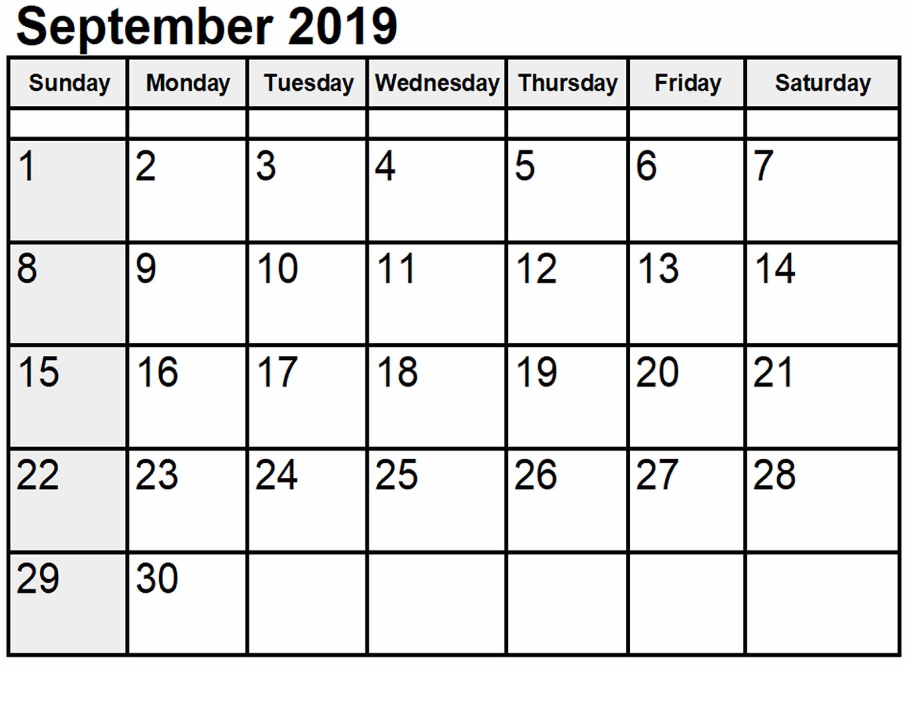 September 2019 Calendar Print Out