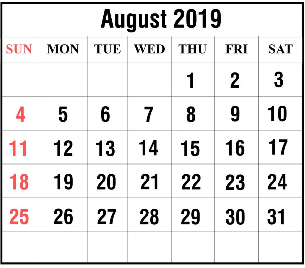 Blank Aug 2019 Calendar
