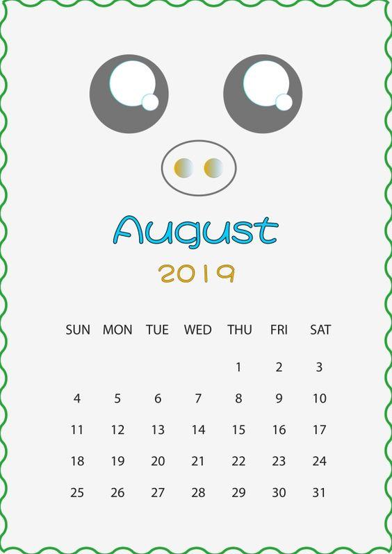 Cute Monthly August 2019 Calendar