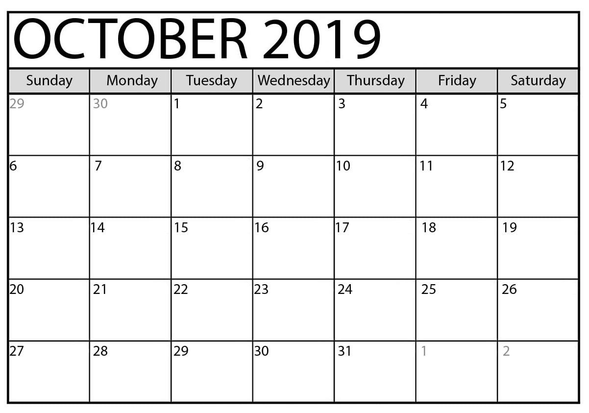 October 2019 Calendar Printable Word Template Latest