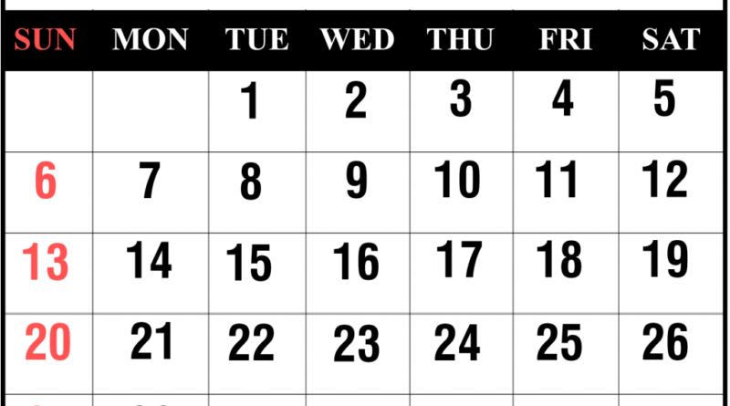 October Calendar 2019