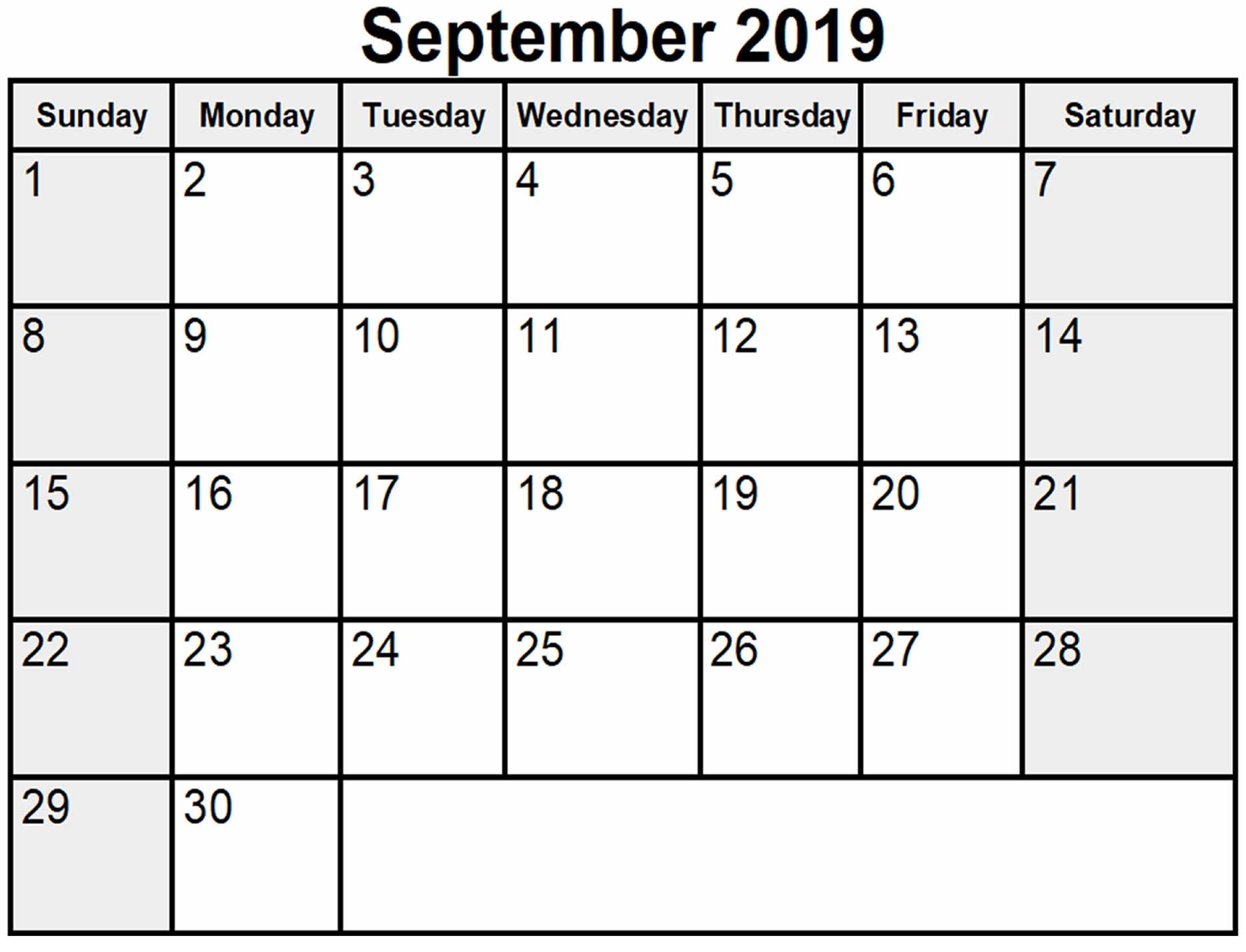 September 2019 Blank Calendar