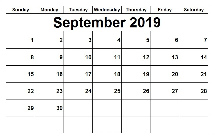 2019 September Printable Calendar