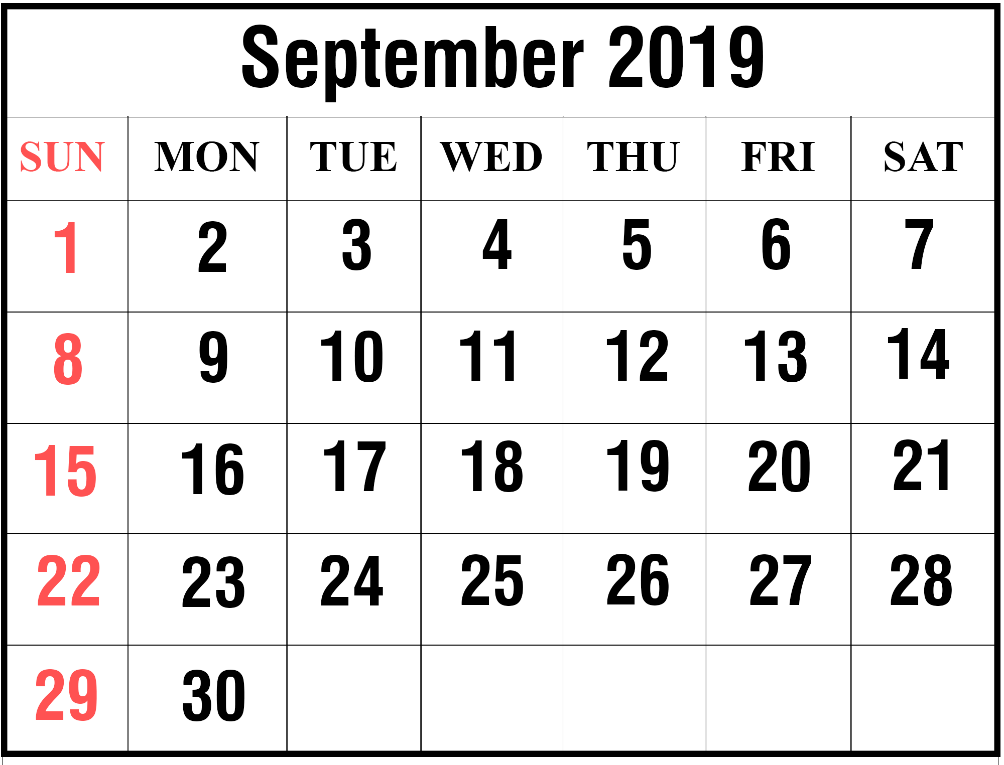 Printable Sep 2019 Calendar