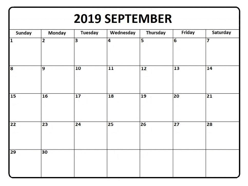 Sep 2019 Calendar Printable