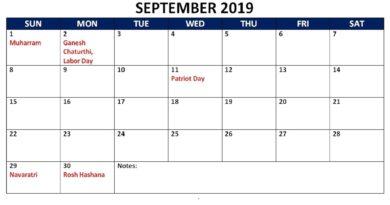 September Calendar 2019 With Holidays