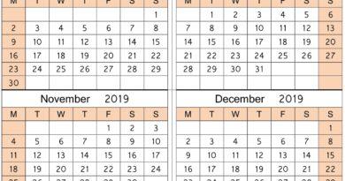 September October November December Calendar