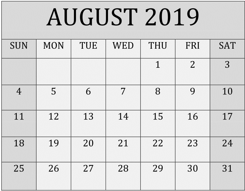 August 2019 Calendar