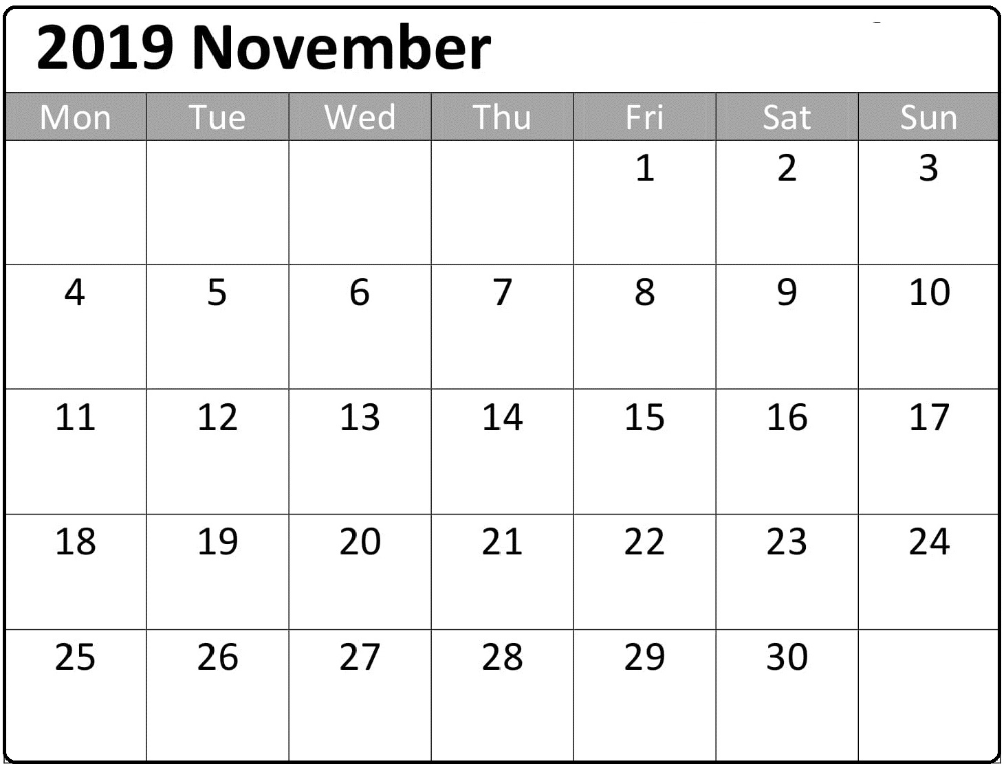 Free Printable November 2019 Calendar Planner Templates Latest Printable Calendar Template