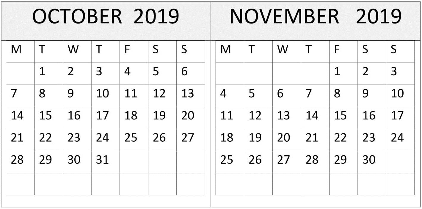 October November 2019 Calendar One Page