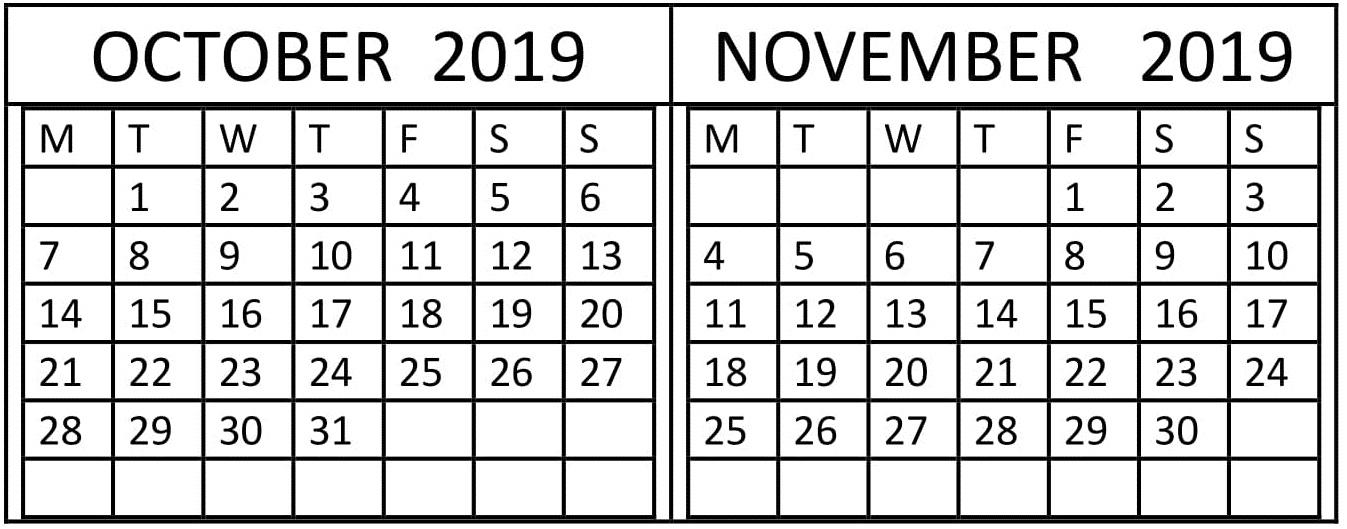 October November 2019 Calendar Planner