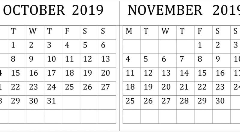 October November 2019 Calendar