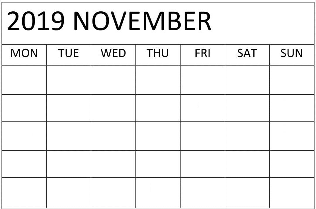 Blank November 2019 Calendar