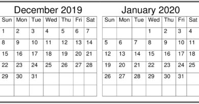 December January 2020 Calendar