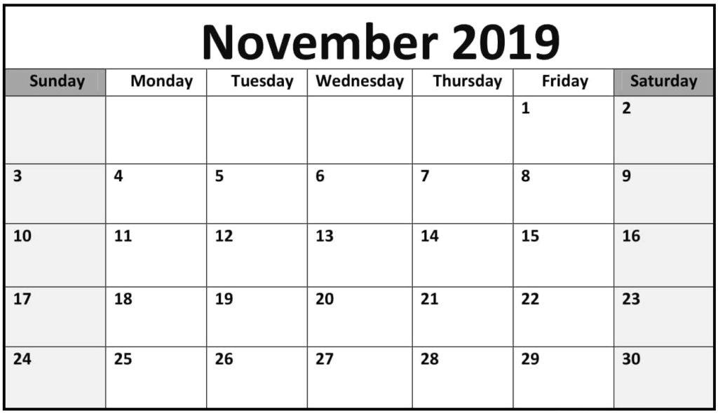 November Calendar 2019