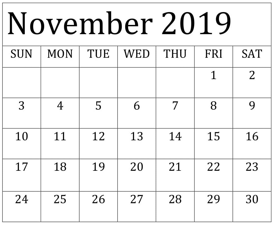 2019 November Calendar