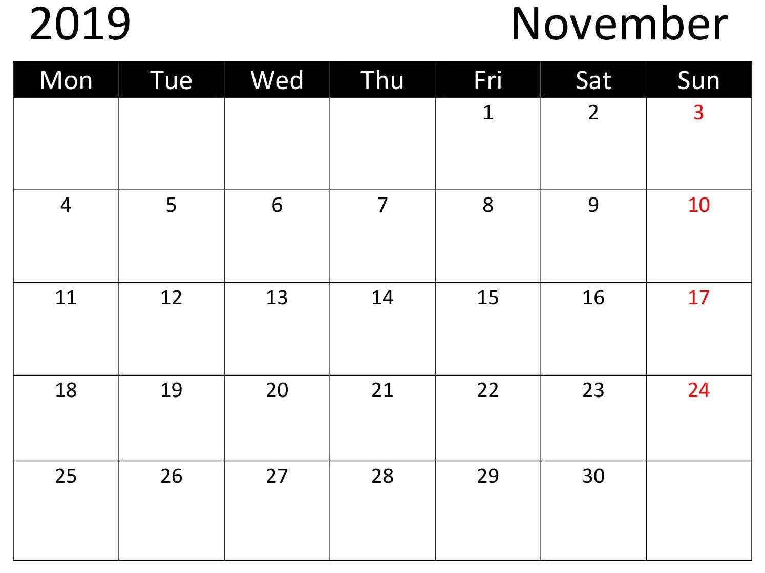 Printable November 2019 Calendar