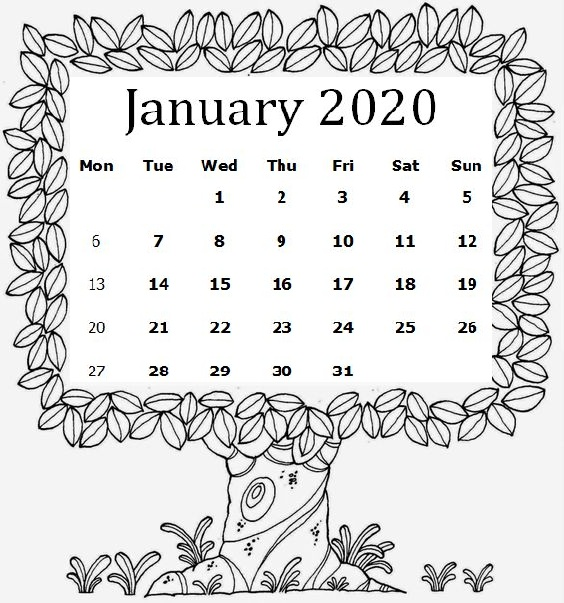 Cute January 2020 Calendar