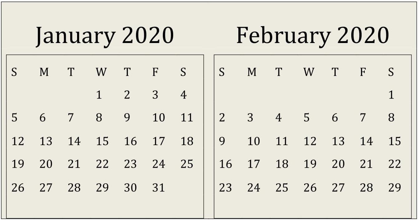January February 2020 Calendar