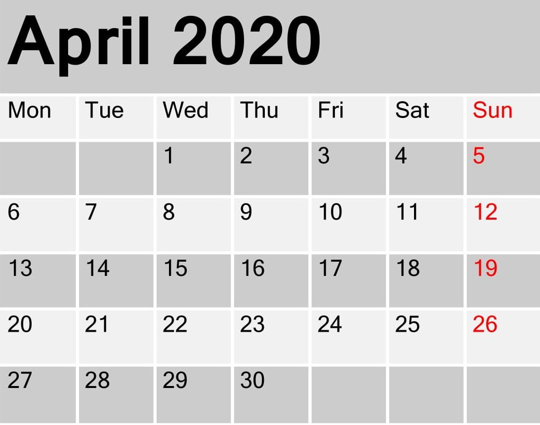 April 2020 Calendar Printable Planner - Latest Printable