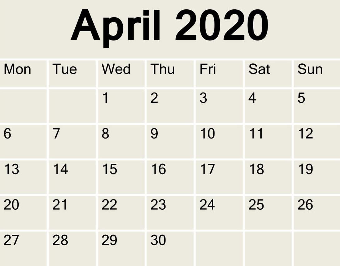 April 2020 Calendar Template