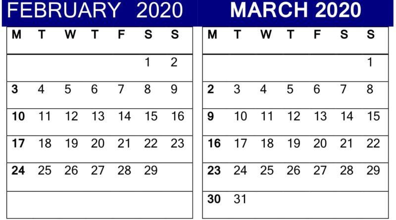 February March 2020 Calendar