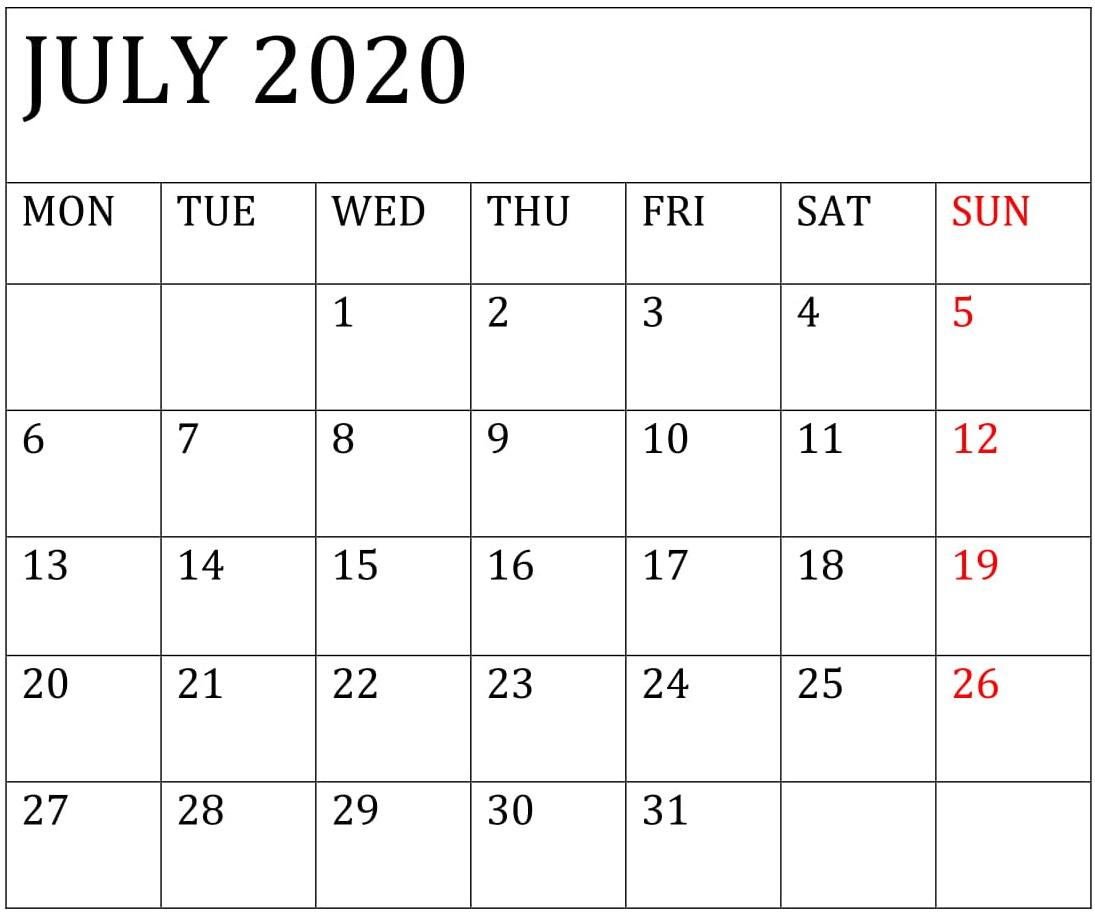 July 2020 Calendar Template