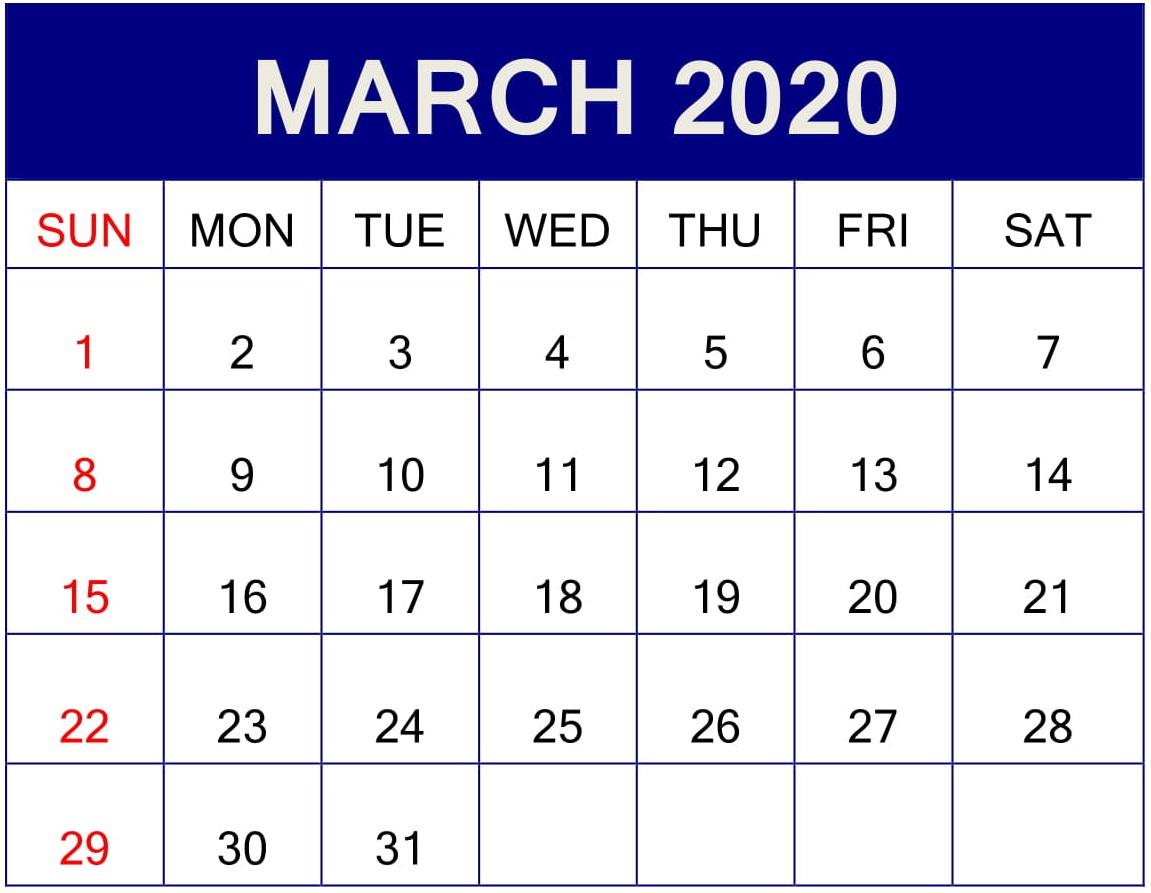 March 2020 Calendar Template