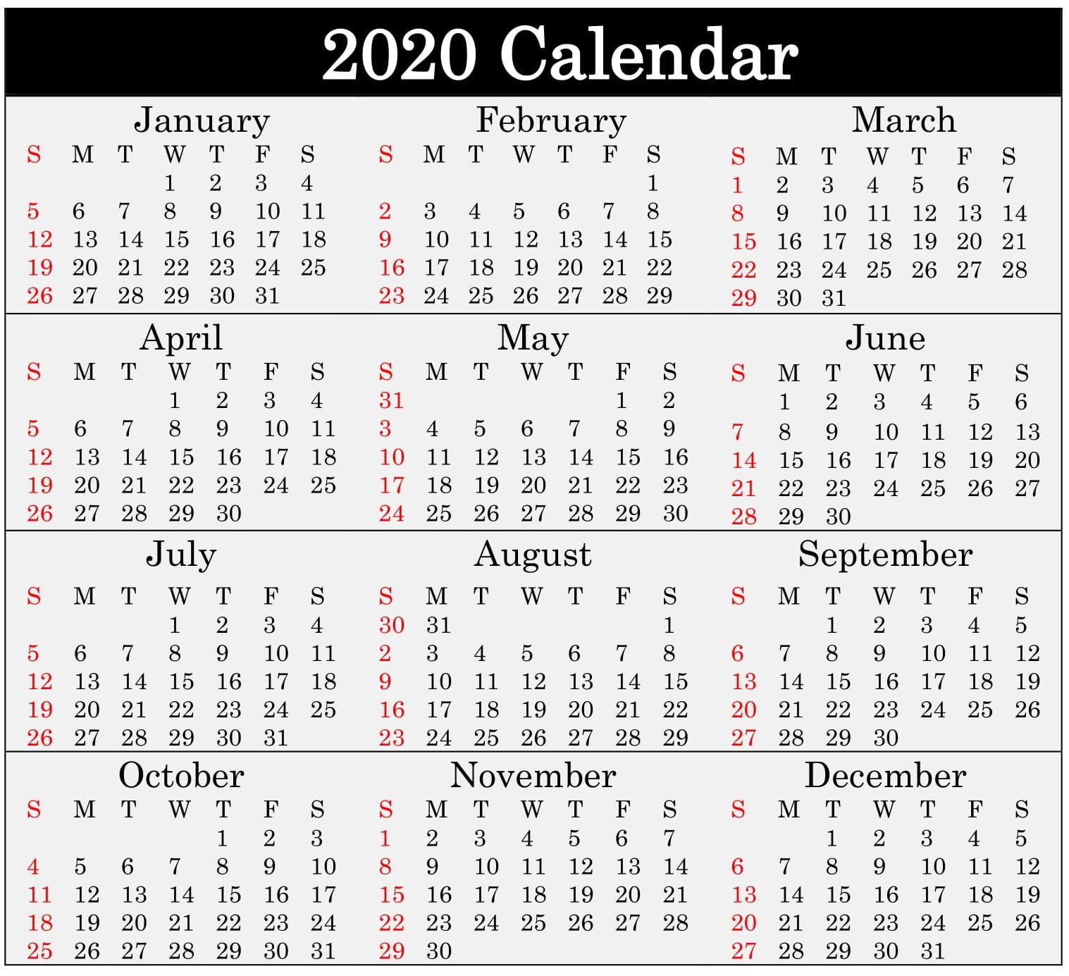 Free Printable 2020 Calendar Word Pdf Excel Document