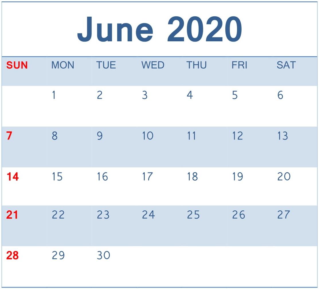 Printable June 2020 Calendar