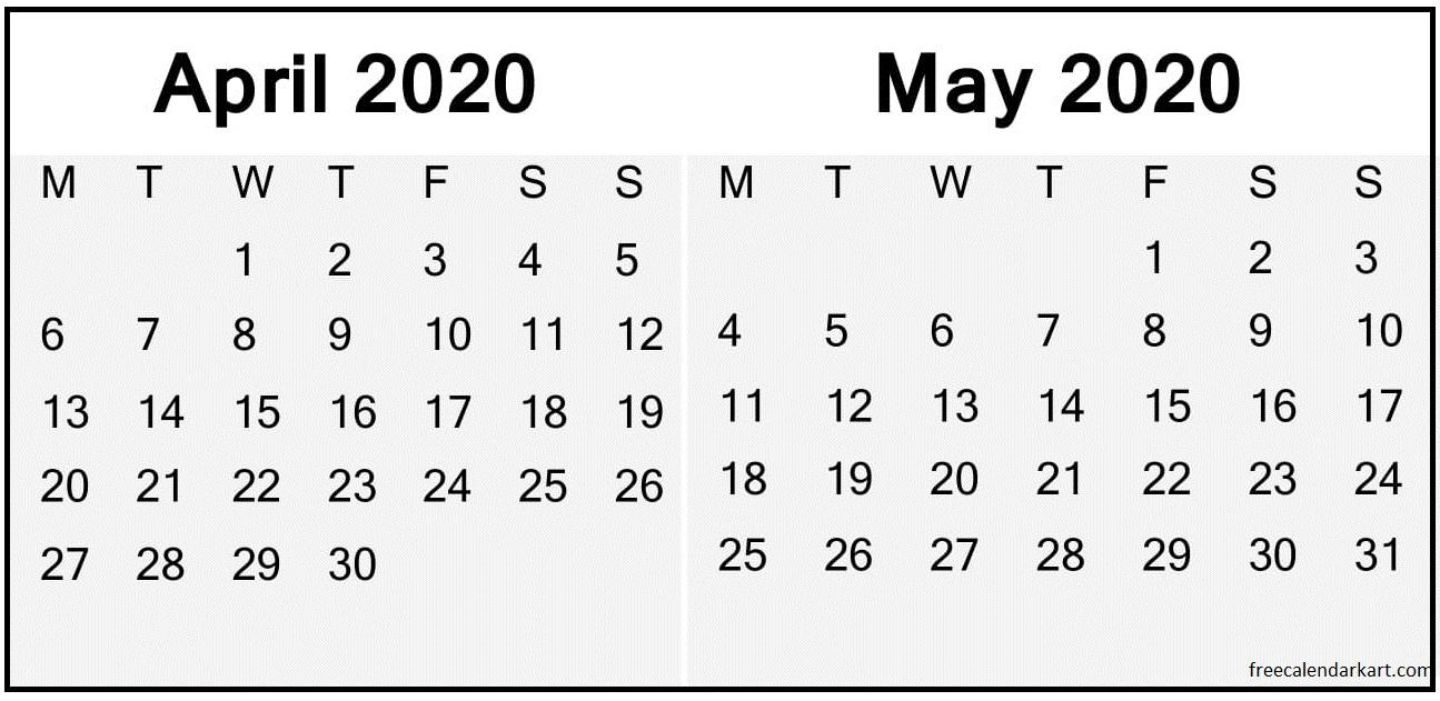 April May 2020 Calendar