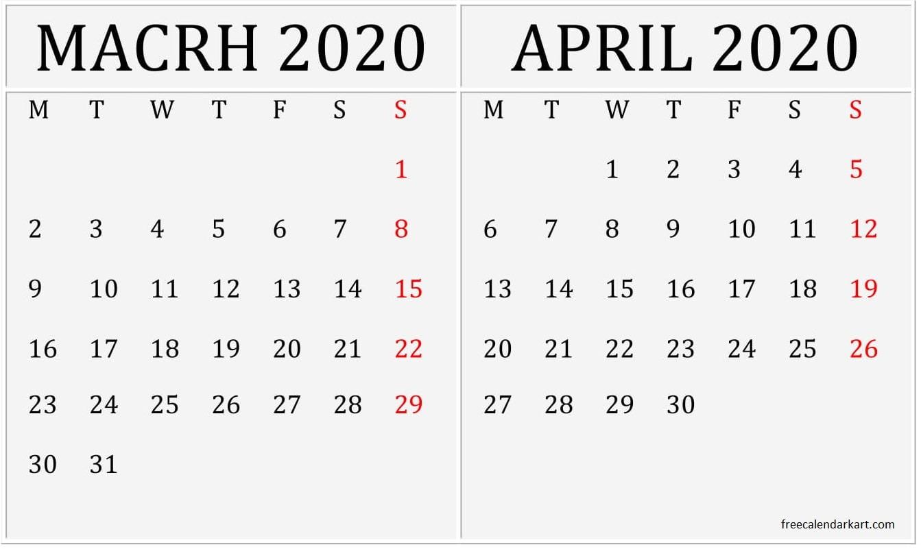 March April 2020 Calendar